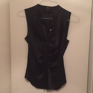 NWT - Theory Black Ruched Fitted Blouse - Size S